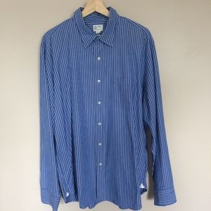 J. Crew Men's Blue White Shirt Striped Button-down